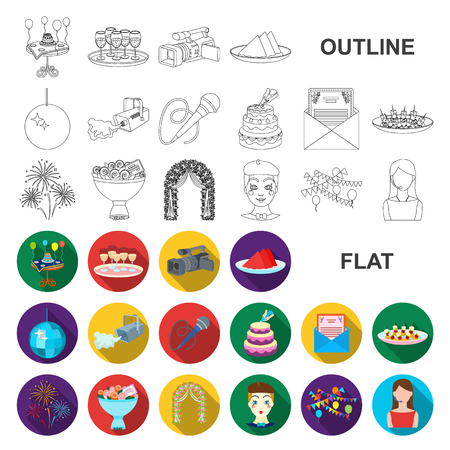 Event Organisation flat icons in set collection for design.Celebration and Attributes vector symbol stock web illustration. Ilustrace