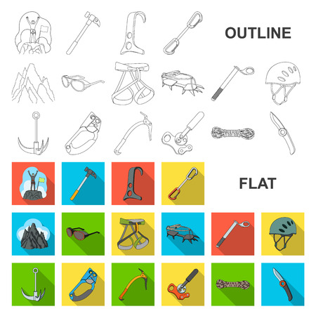 Mountaineering and climbing flat icons in set collection for design. Equipment and accessories vector symbol stock web illustration. Illustration