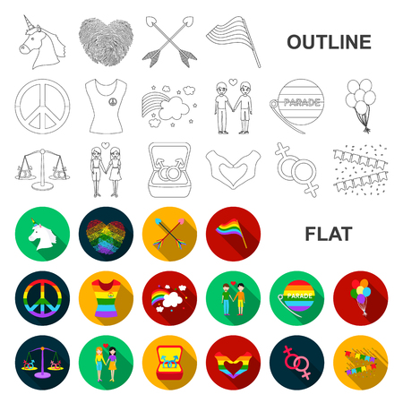 Gay and lesbian flat icons in set collection for design.Sexual minority and attributes vector symbol stock web illustration.