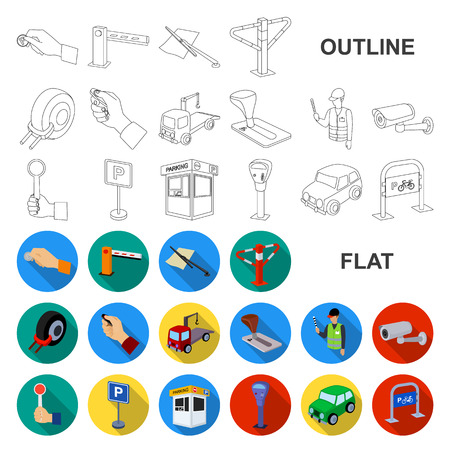Parking for cars flat icons in set collection for design. Equipment and service vector symbol stock web illustration. Illustration