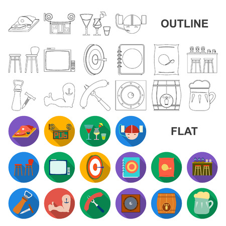 Pub, interior and equipment flat icons in set collection for design. Alcohol and food vector symbol stock web illustration. Ilustrace