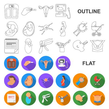 Mujer y embarazo planos iconos de colección set de diseño. Ilustración de stock de símbolo de vector de ginecología y equipo.