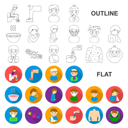 The sick man flat icons in set collection for design. Illness and treatment vector symbol stock web illustration.