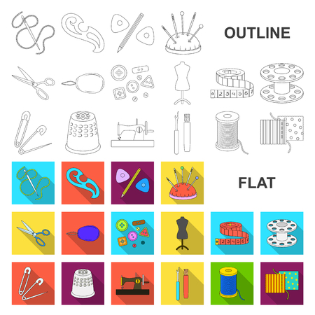 Nähen, flache Ikonen des Ateliers in der Satzsammlung für Design. Werkzeugausrüstungsvektorsymbolvorrat-Netzillustration.