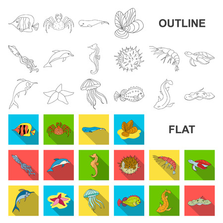 A variety of marine animals flat icons in set collection for design. Fish and shellfish vector symbol stock web illustration.