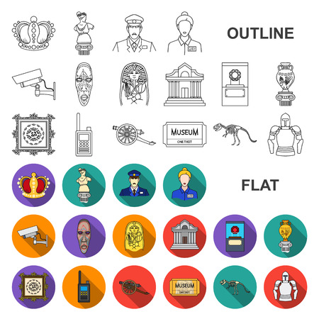 Museum and gallery flat icons in set collection for design. Storage and exhibition of showpiece vector symbol stock web illustration.