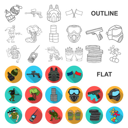 Paintball, team game flat icons in set collection for design. Equipment and outfit vector symbol stock web illustration. Illustration