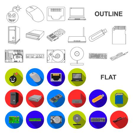 Iconos planos de computadora personal en conjunto para el diseño. Equipo y accesorios vector símbolo stock web ilustración.