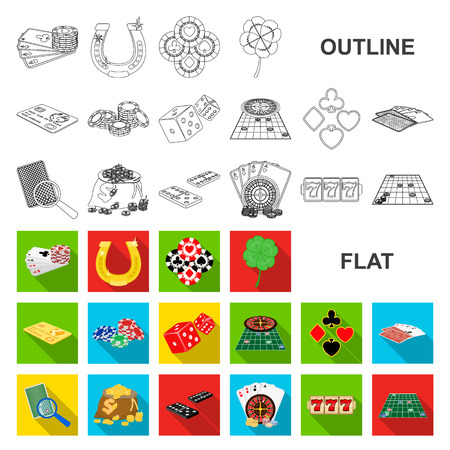 Casino and equipment flat icons in set collection for design. Gambling and money vector symbol stock web illustration.