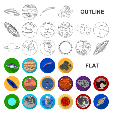 Planets of the solar system flat icons in set collection for design. Cosmos and astronomy vector symbol stock web illustration.