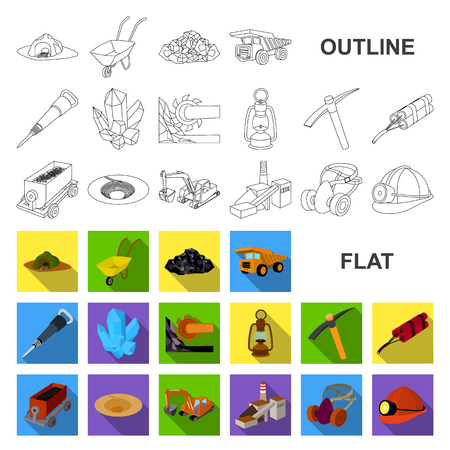 Mining industry flat icons in set collection for design. Equipment and tools vector symbol stock web illustration.