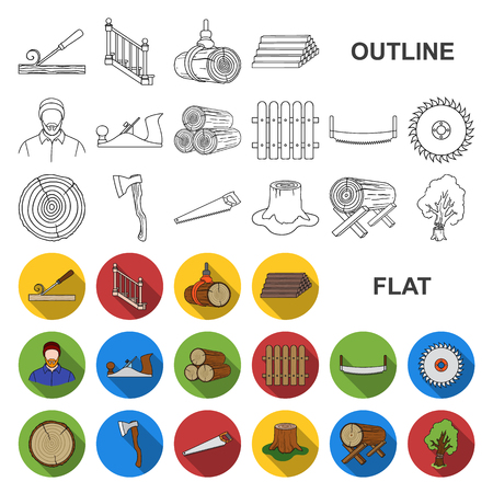Sawmill and Timber flat icons in set collection for design. Hardware and Tools vector symbol stock web illustration.