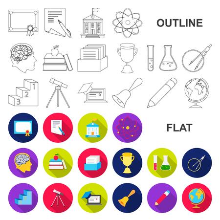 Iconos planos de la escuela y la educación en la colección de conjunto para el diseño.Inspiración, equipo y accesorios vector símbolo stock web ilustración. Ilustración de vector
