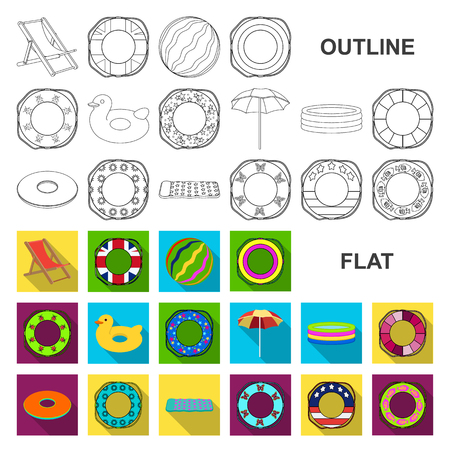 Multicolored swimming circle flat icons in set collection for design. Different lifebuoys vector symbol stock web illustration. Vectores