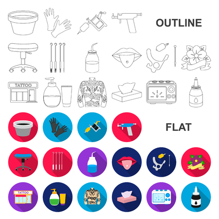 Tattoo, drawing on the body flat icons in set collection for design. Tattoo salon and equipment vector symbol stock web illustration. Ilustracja
