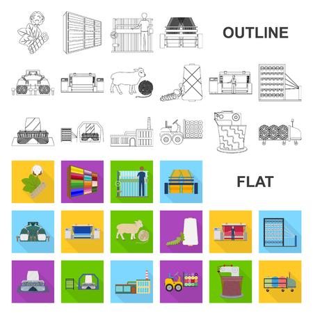 Flache Ikonen der Textilindustrie in der Satzsammlung für Design Textilausrüstung und Gewebe vector Symbolvorrat-Netzillustration.