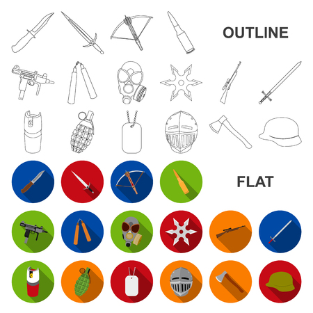 Types of weapons flat icons in set collection for design.Firearms and bladed weapons vector symbol stock web illustration. Illustration
