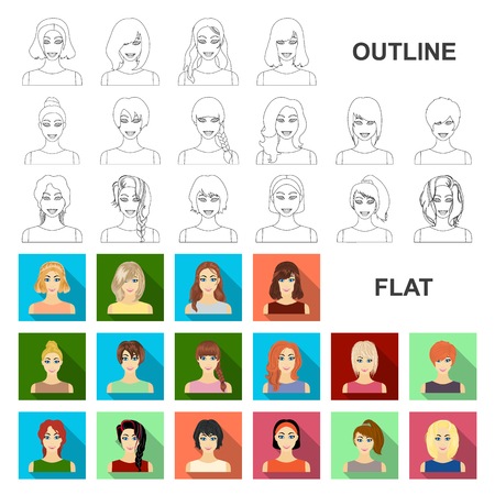 Types of female hairstyles flat icons in set collection for design. Appearance of a woman vector symbol stock web illustration.