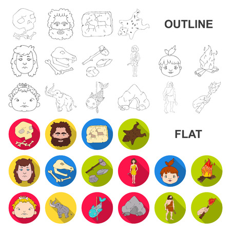 Life in the Stone Age flat icons in set collection for design. Ancient people vector symbol stock web illustration.