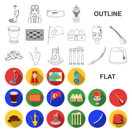 Turkey country flat icons in set collection for design.Travel and attractions vector symbol stock web illustration.