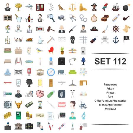Ilustración de vector de restaurante, prisión, pirata, parque, oficina, muebles interior dinero finanzas icono médico conjunto web.