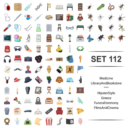 Vector illustration of medicine, library, bookstore, insect, hipster, style, greece funeral ceremony film cinema icon web set.