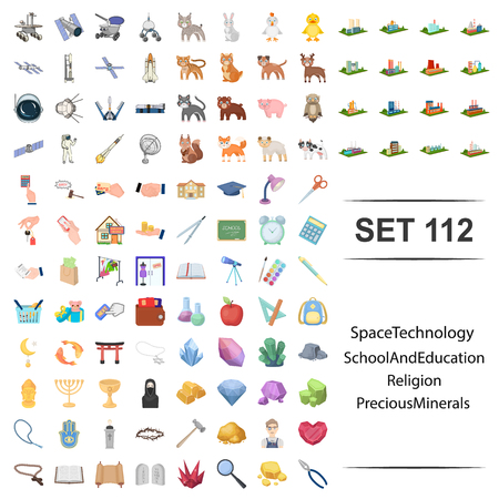 Vector illustration of space, technology, school, education, religion precious minerals icon web set. Иллюстрация