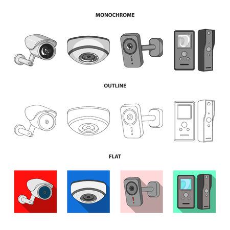 Vector illustration of cctv and camera symbol. Collection of cctv and system stock vector illustration.