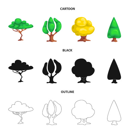Vector design of tree and nature logo. Collection of tree and crown stock vector illustration.
