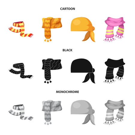 Isolated object of scarf and shawl icon. Collection of scarf and accessory vector icon for stock. Illustration