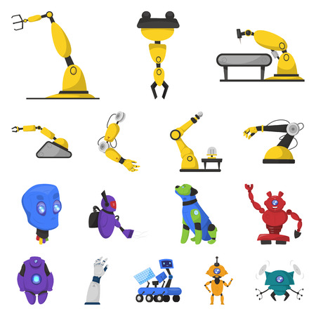 Isolated object of robot and factory sign. Set of robot and space stock symbol for web. Ilustrace