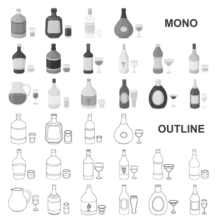 Types of alcohol monochrom icons in set collection for design. Alcohol in bottles vector symbol stock  illustration. Stock Illustratie