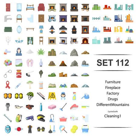 Vector illustration of furniture, fireplace, factory, drug, different, mountain cyclist outfit cleaning icon web set.