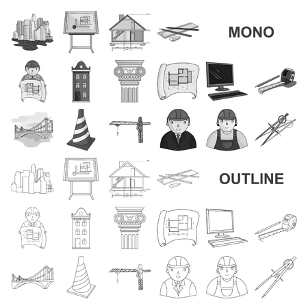Architecture and construction monochrom icons in set collection for design. Architect and equipment vector symbol stock  illustration.  イラスト・ベクター素材
