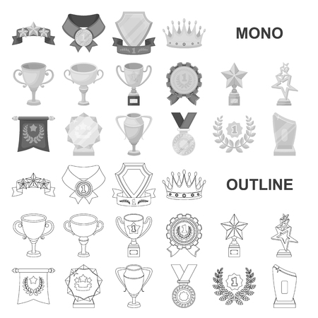 Awards and trophies monochrom icons in set collection for design.Reward and achievement vector symbol stock  illustration. Иллюстрация