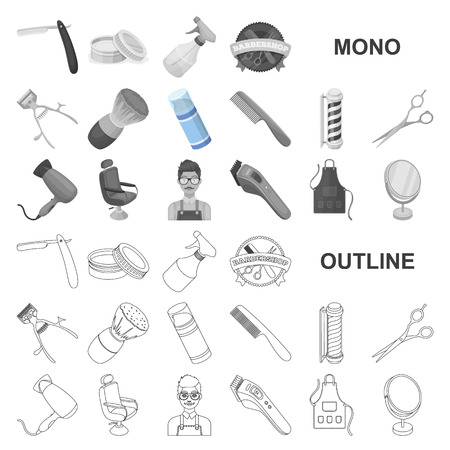 Barbershop and equipment monochrom icons in set collection for design. Haircut and shave vector symbol stock illustration.
