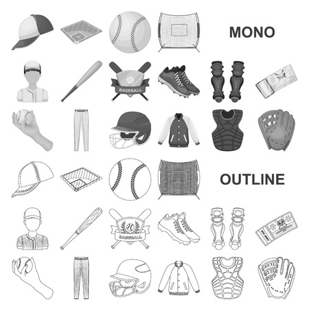 Baseball and attributes monochrom icons in set collection for design.Baseball player and equipment vector symbol stock  illustration.