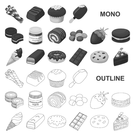Chocolate Dessert monochrom icons in set collection for design. Chocolate and Sweets vector symbol stock  illustration.