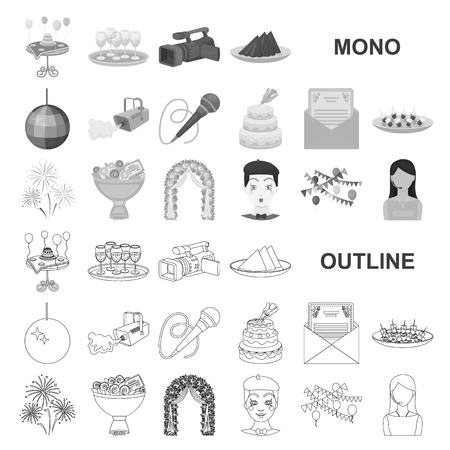 Event Organisation monochrom icons in set collection for design.Celebration and Attributes vector symbol stock  illustration.