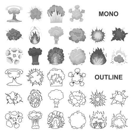 Diferentes explosiones monocromáticas iconos de colección set de diseño.Flash y llama vector símbolo stock de ilustración.