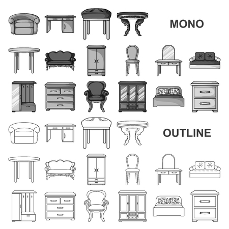 Furniture and interior monochrom icons in set collection for design.Home furniture vector symbol stock illustration. Ilustración de vector