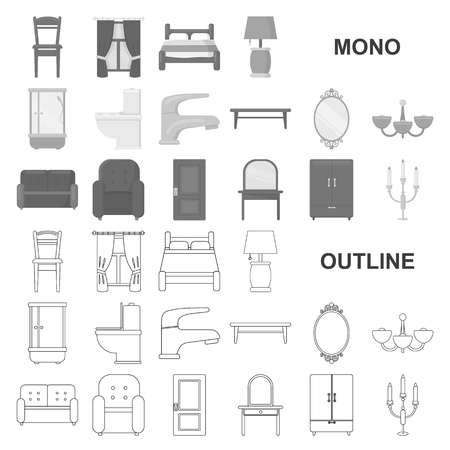 Furniture and interior monochrom icons in set collection for design.Home furniture vector symbol stock illustration.