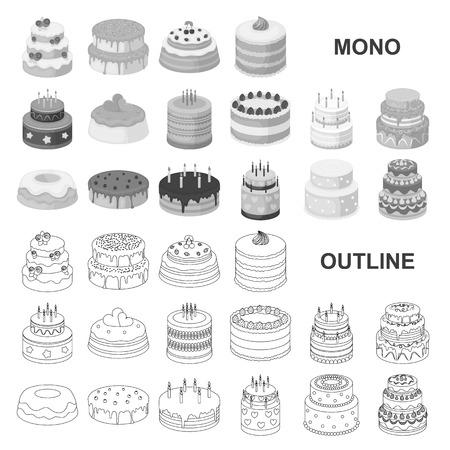 Cake and dessert monochrom icons in set collection for design. Holiday cake vector symbol stock  illustration.