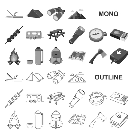 Rest in the camping monochrom icons in set collection for design. Camping and equipment vector symbol stock  illustration.