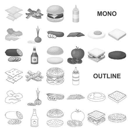 Burger and ingredients monochrom icons in set collection for design. Burger cooking vector symbol stock  illustration.