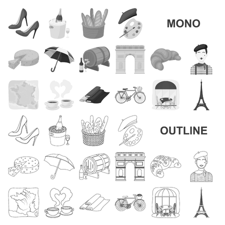 Country France monochrom icons in set collection for design. France and landmark vector symbol stock illustration.
