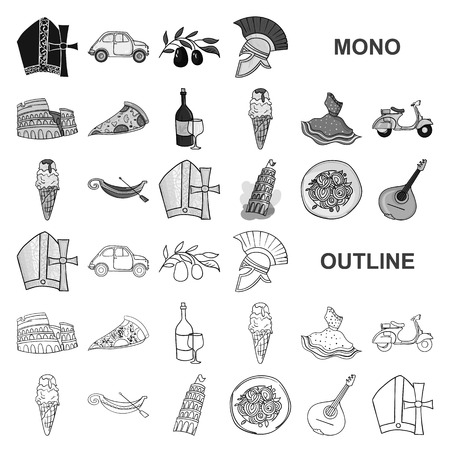 Country Italy monochrom icons in set collection for design. Italy and landmark vector symbol stock  illustration. 矢量图像