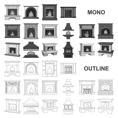 Different kinds of fireplaces monochrom icons in set collection for design.Fireplaces construction vector symbol stock  illustration.