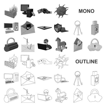 Hacker et piratage d'icônes monochromes dans la collection de jeux pour la conception. Hacker et équipement symbole vecteur illustration de stock. Vecteurs