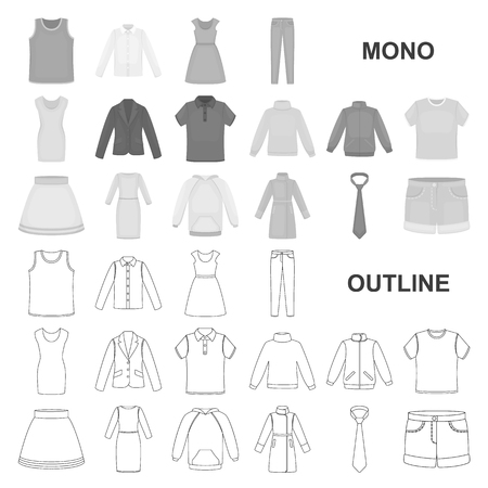 Different kinds of clothes monochrom icons in set collection for design. Clothes and style vector symbol stock illustration.